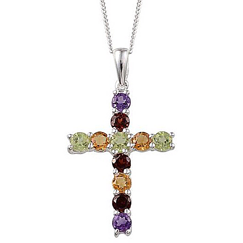 Hebei Peridot (Rnd), Mozambique Garnet, Amethyst and Citrine Cross Necklace in S