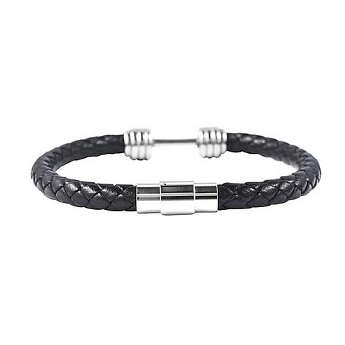 Genuine Leather (Black) Barbell Design Bracelet- Size 8 inch