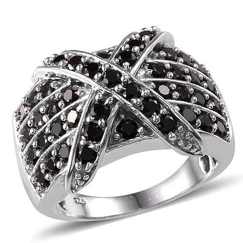 Boi Ploi Black Spinel (Rnd) Cross Design Ring In Platinum Overlay Sterling Silve