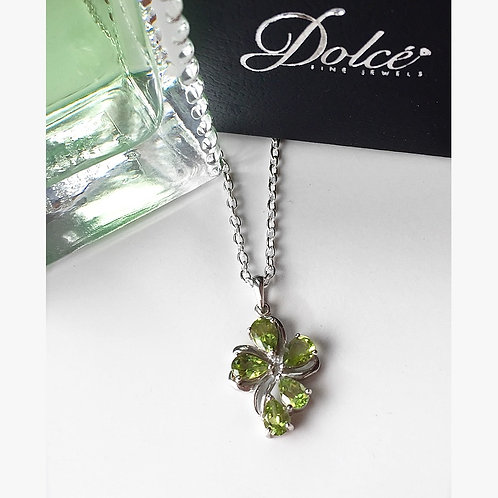 Hebei Peridot (Pear) Necklace in Sterling Silver 2.640 Ct.