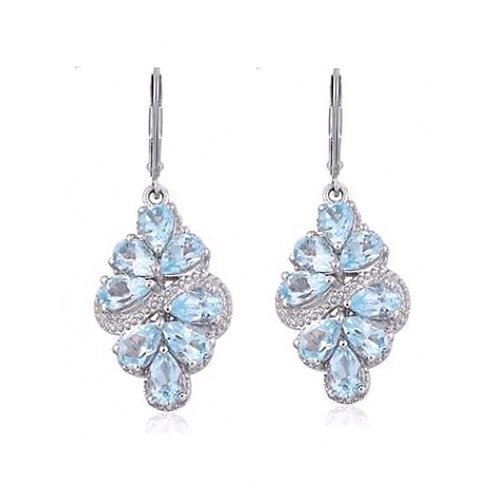 Sky Blue Topaz Earrings (Pear Cut) 8.125 Ct Set in Silver