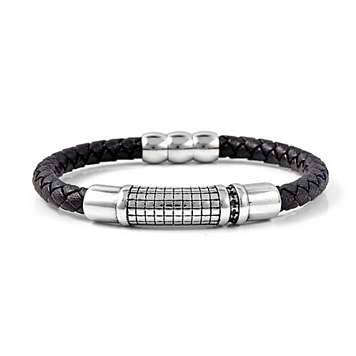 Genuine Leather (Black) Oxidised Bracelet - Size 8 inch