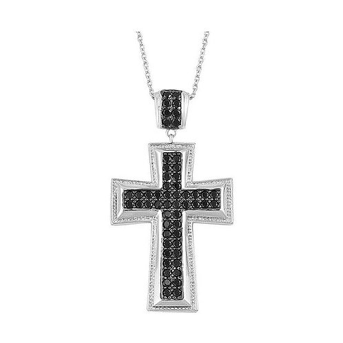 Boi Ploi Black Spinel Cross Necklace in Black Rhodium Plated Sterling Silver 2.0