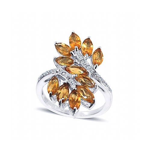 Citrine (Mrq), Diamond Crossover Ring in Rhodium Plated Sterling Silver 3.010 Ct