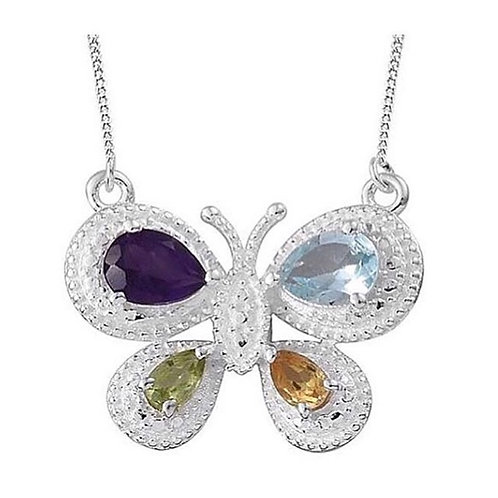 Multi Gemstones Butterfly 18-inch Sterling Silver Necklace - Sky Blue Topaz, Cit