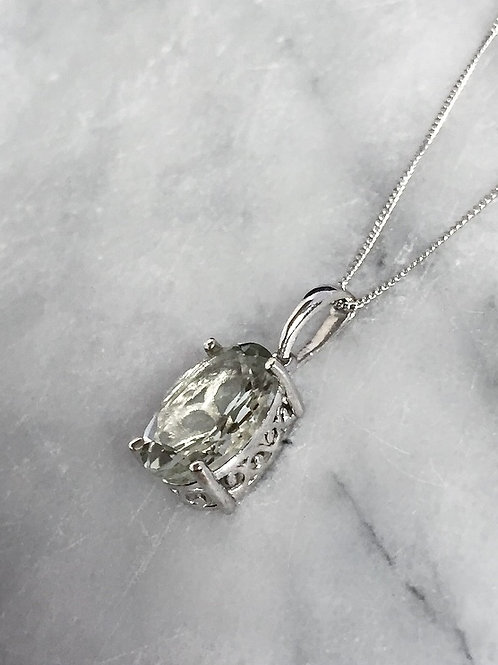 Green Amethyst (Ovl 12x10 MM) Solitaire Necklace in Sterling Silver 5.000 Ct.