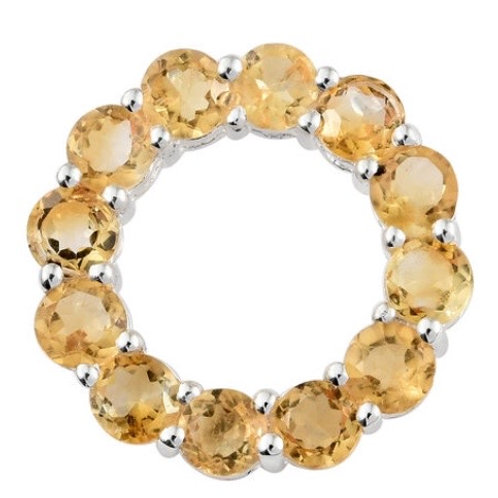 Circle of Life, Citrine Gemstones (Round 2.500 ct.) Necklace in Sterling Silver