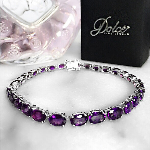 Amethyst (Oval) Tennis Bracelet in Rhodium Plated Sterling Silver 12.250Ct (7 I