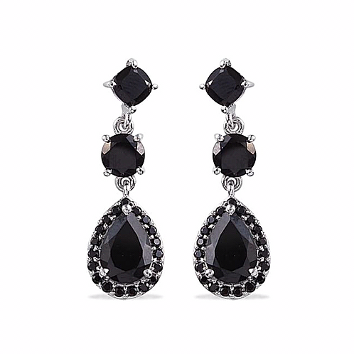Boi Ploi Black Spinel (Pear) Earrings (with Push Back) in Platinum Overlay Sterl
