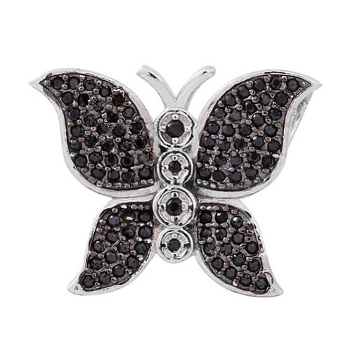Boi Ploi Black Spinel (94 Round) Butterfly Pendant in Rhodium Plated Sterling