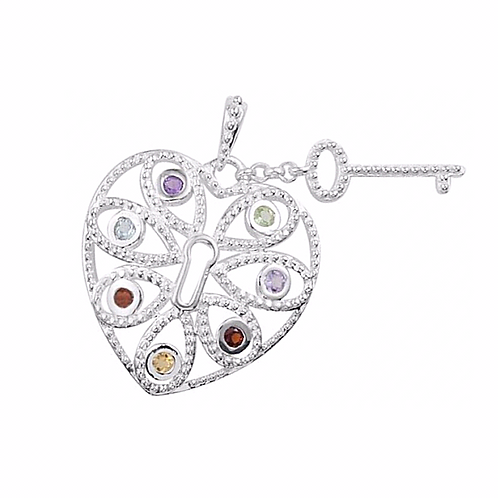 Heart, Lock & Key Necklace (Multi-Gemstones)