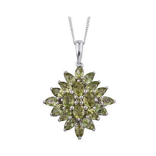 AA Hebei Peridot (Ovl) Pendant With Chain in Platinum Overlay Sterling Silver 5.