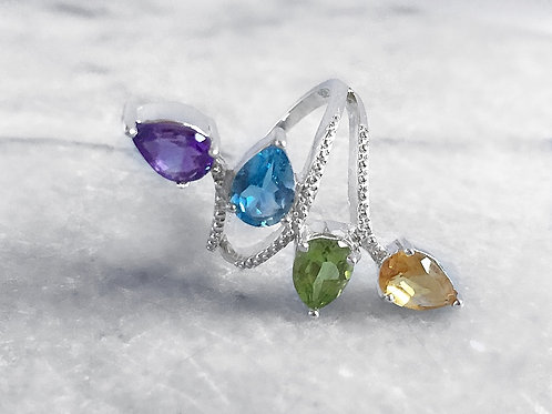 Electric Blue Topaz (Pear 0.85 Ct), Hebei Peridot, Amethyst and Citrine Crossove