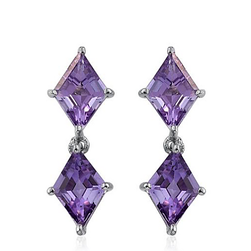 Rose De France Amethyst Earrings in Platinum Overlay Sterling Silver 3.250 Ct.
