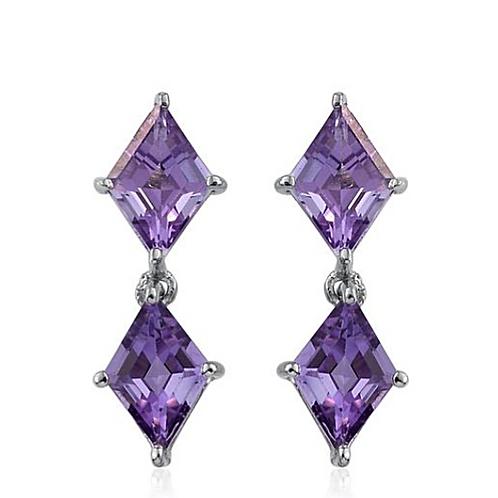 Rose De France Amethyst Earrings in Platinum Overlay Sterling Silver 3.250 Ct.