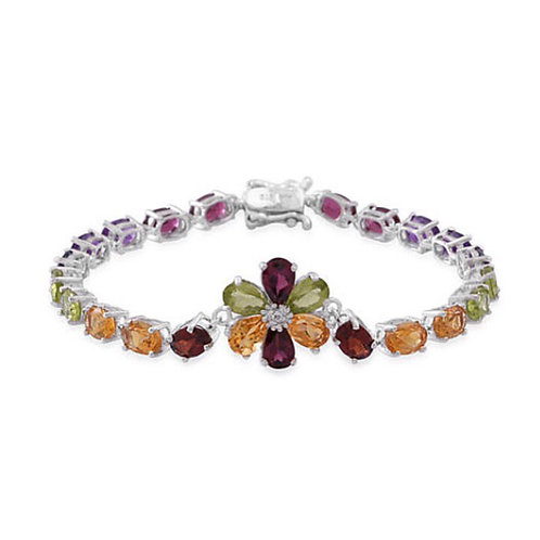 Multi GemStones (Ovl), White Topaz Floral Bracelet (Size 7) in Rhodium Plated St