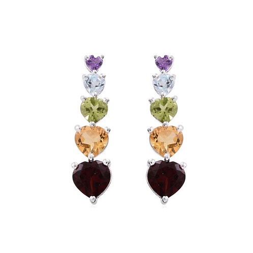 Mozambique Garnet (Hrt), Citrine, Hebei Peridot and Multi Gemstone Earrings (wit