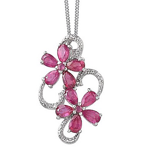 African Ruby (Pear), Mozambique Garnet Twin Floral Necklace in Platinum Overlay