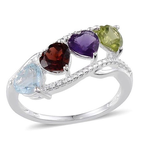 Sky Blue Topaz (Hrt), Mozambique Garnet, Amethyst and Hebei Peridot Ring in Ster