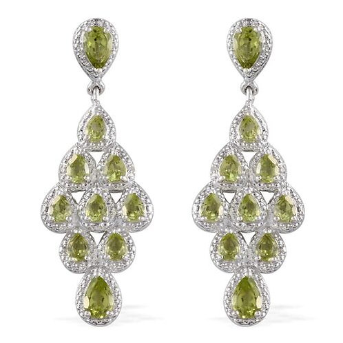 Hebei Peridot (Pear), Diamond Earrings in Platinum Overlay Sterling Silver 4.170