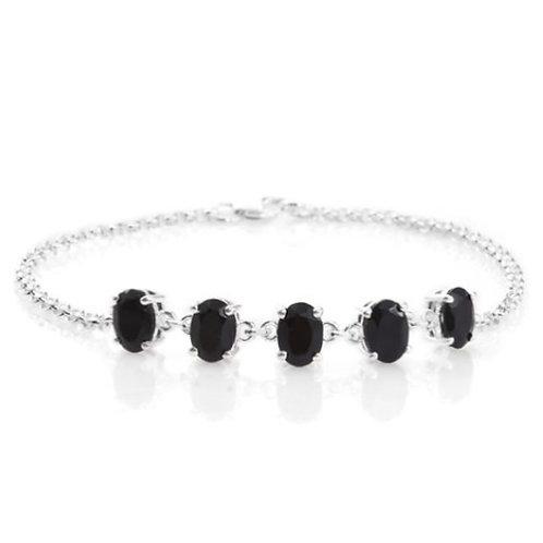 Boi Ploi Black Spinel (Ovl) Bracelet (Size 7.5) in Sterling Silver 5.500 Ct.