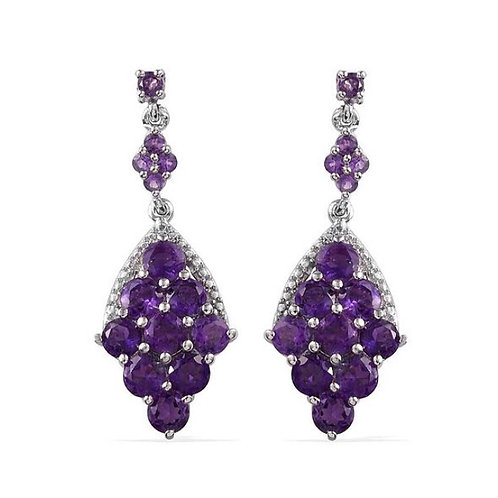 Amethyst (Round) Earrings (with Push Back) in Platinum Overlay Sterling Silver 4