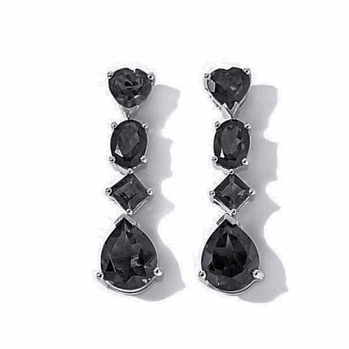 Boi Ploi Black Spinel (Pear, Heart, Oval, Square) Drop Earrings In Rhodium Plate