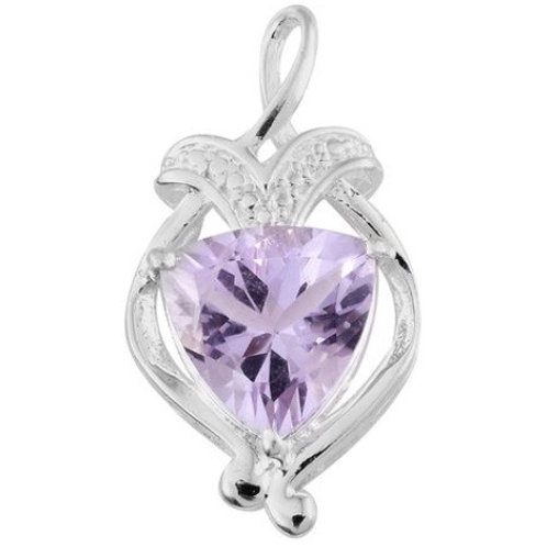 Rose De France (Trillion) Solitaire Necklace in Sterling Silver 2.750 Ct.