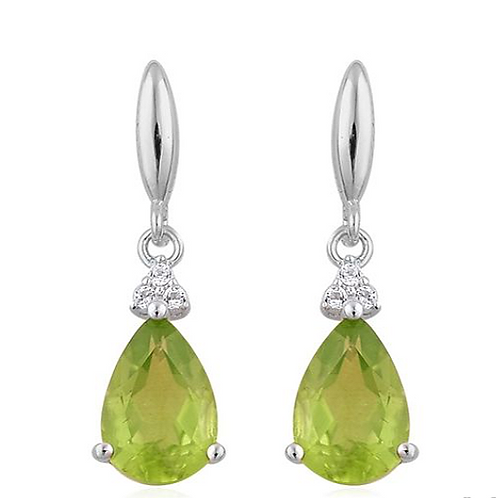 AA Hebei Peridot (Pear), White Topaz Earrings (with Push Back) in Platinum Overl