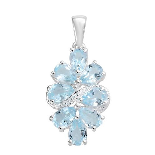 Sky Blue Topaz (Pear) Necklace in Sterling Silver 3.750 Ct.