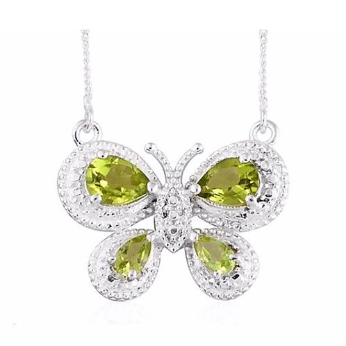 Hebei Peridot (pear cut 2.000 ct.) Butterfly Necklace -18 inch, in Sterling Silv