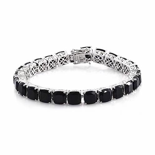 Black Tourmaline (Cush) Bracelet in Platinum Overlay Sterling Silver 58.000 Ct.