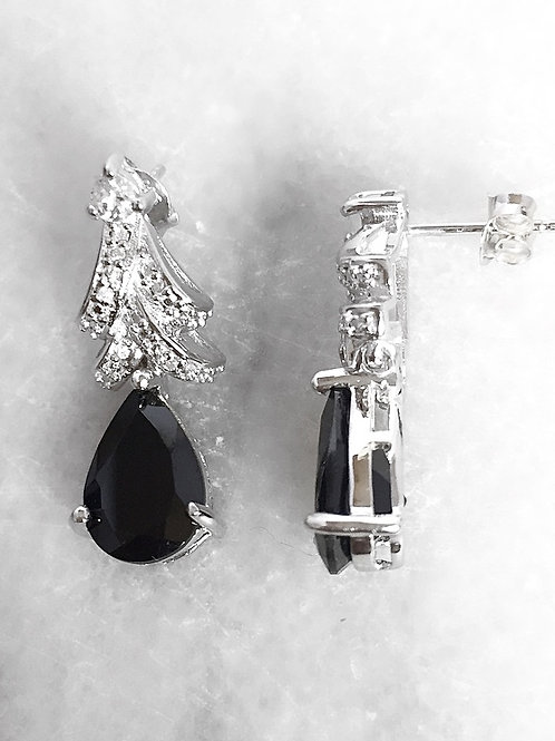 Boi Ploi Black Spinel (Pear) White Topaz Earrings (with Push Back) in Rhodium