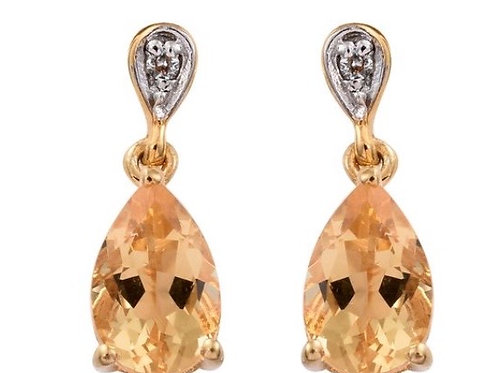 Citrine (Pear), Natural Cambodian Zircon Earrings (with Push Back) in 14K Gold O