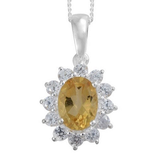 Citrine (Oval 1.10 Ct.) & Natural Cambodian Zircon (1.750 ct.) Necklace in Sterl