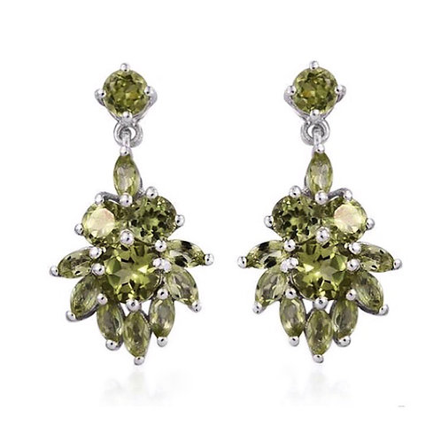 AA Hebei Peridot (Rnd) Earrings (with Push Back) in Platinum Overlay Sterling Si