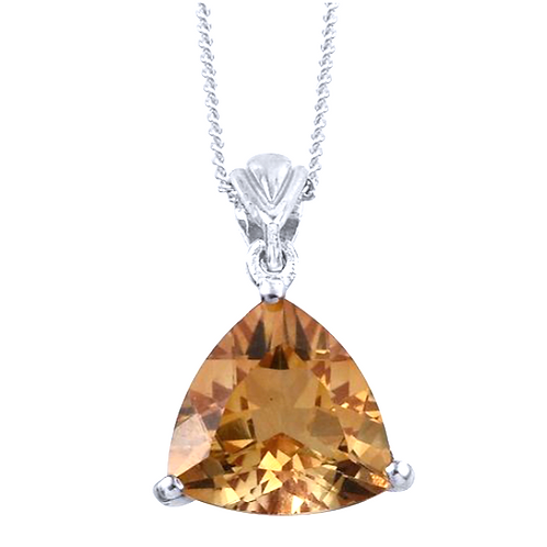 Citrine (Trl) Solitaire Necklace in Platinum Overlay Sterling Silver 3.000 Ct.