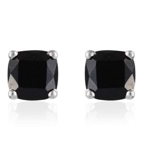 Black Tourmaline (Cushion Cut) Stud Earrings 4.500 Ct. Silver (Platinum Overlay)