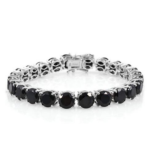 Boi Ploi Black Spinel (Rnd) Tennis Bracelet in Platinum Overlay Sterling Silver