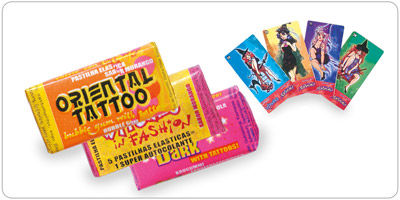 Chewing gum in fold wrap style with tattoos