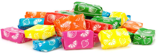 Chewy candy in fold wrap style