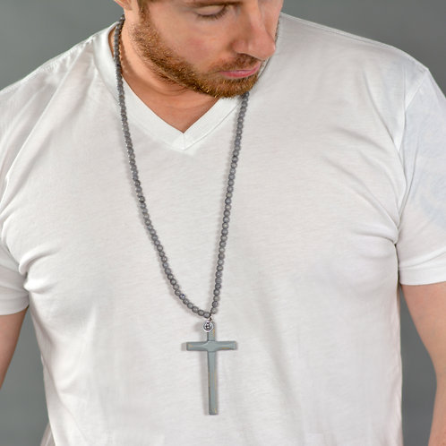 GRAY CROSS NECKLACE