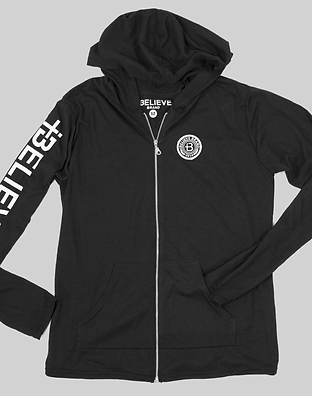 BLACK LIGHTWEIGHT ZIP-UP HOODIE