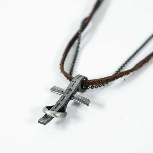 INFINITY LEATHER CROSS NECKLACE