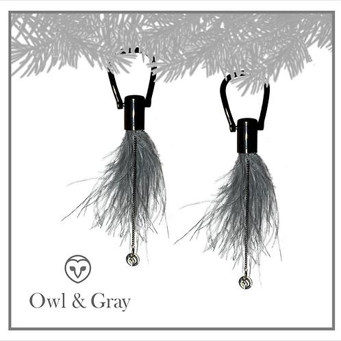 Ostrich Feather Tassel - Slate Gray