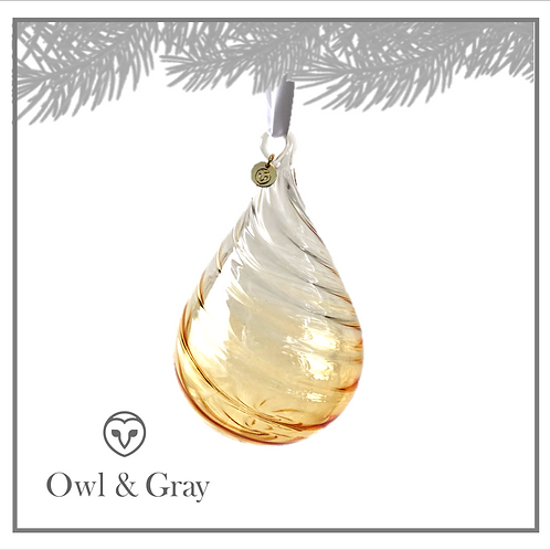 """4"""" Twisted Glass Teardrop - Ombre Gold"""