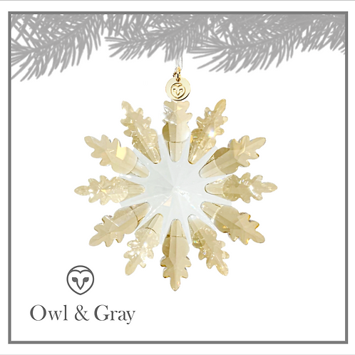 12 Point Crystal Snowflake - Champagne Gold