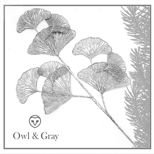 Ginkgo Leaf Spray - Silver