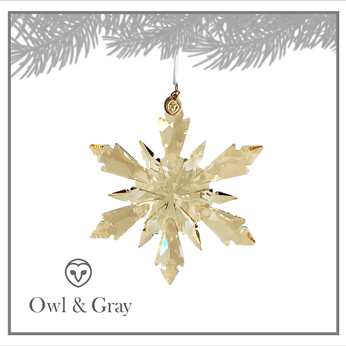 6 Point Crystal Snowflake - Champagne Gold