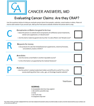 The Cancer Claims CRAP Test